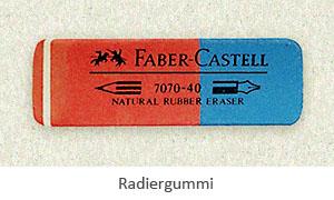 Farbfoto: Radiergummi aus Naturkautschuk