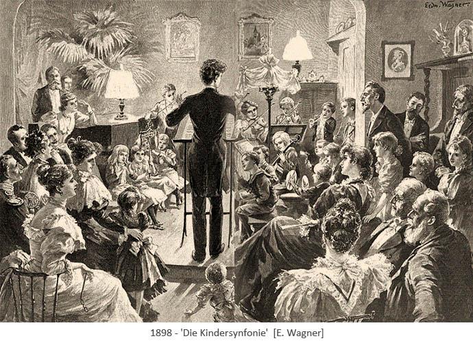 Stahlstich: Kinderensemble musiziert unter Leitung eines jungen Dirigenten - 1898