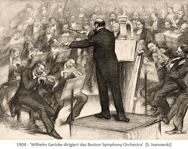 Zeichnung: Wilhelm Gericke dirigiert das Boston Symphony Orchestra - 1904