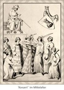 Zeichnung: mittelalterliche Musikanten, ein oberhalb sitzender gibt den Takt an