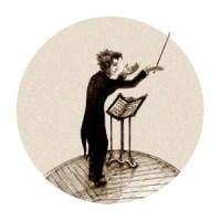 Zeichnung: dirigent mit erhobenem Taktstock