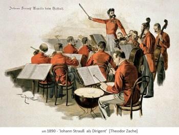 Aquarell: Johann Strauß & Kapelle beim Wiener Hofball ~1890