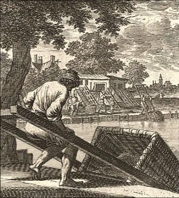 Kupderstich: Leimmacher wässern Leimgut am Flußufer - 1698