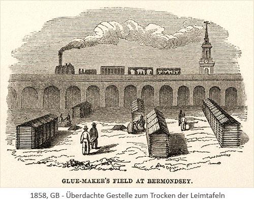 Holzschnitt: im Freien Arbeitende zwischen überdachten Gestellen zum Trocknen von Leimtafeln - 1858, GB