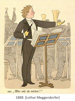 Farblitho: junger Mann dirigiert ein Orchester - 1888