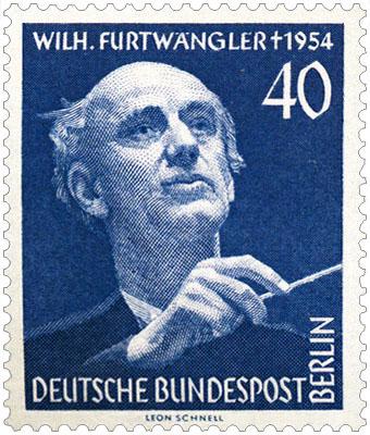 Briefmarke: Wilhelm Furtwängler mit Taktstock - 1954