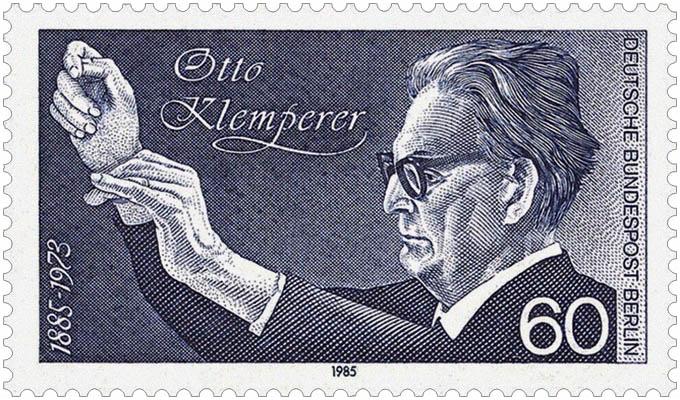 Briefmarke: Otto Klemperer beim Dirigieren - 1985