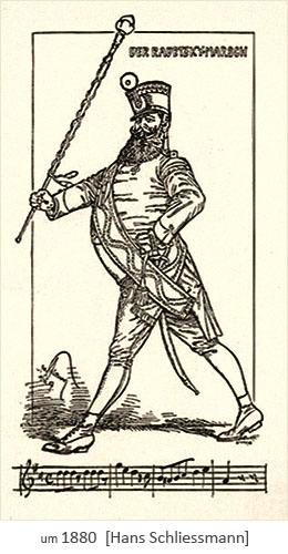 Zeichnung: Tambourmajor und Radetzky-Marsch-Noten ~1880
