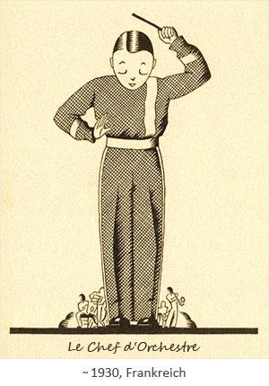 Zeichnung: Knabe dirigiert Miniatur-Orchester ihm zu Füßen ~1930, FR
