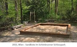 Farbfoto: Sandspielkiste im Schönbrunner Schlosspark - 2015, Wien