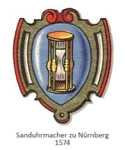 Farblitho: Zunftwappen der Sanduhrmacher zu Nürnberg - 1574