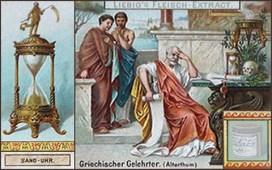 Sammelbild: griechischer Gelehrter am Tisch mit Sanduhr - Antike