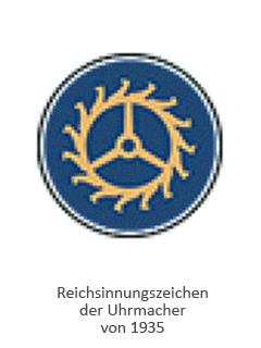 Farblitho: rundes Reichsinnungszeichen der Uhrmacher mit Ankerrad - 1935