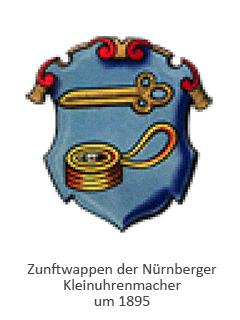Farblitho: Zunftwappen der Kleinuhrenmacher mit sog. Nürnberger Ei und Uhrschlüssel ~1895