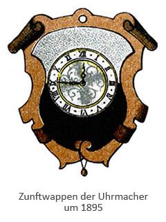 Farblitho: Zunftwappen der Uhrmacher, mittig eine Uhr ~1895