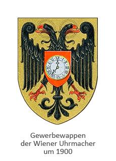 Farblitho: Gewerbewappen der Wiener Uhrmacher, Doppelkopfadler mit Uhr vor der Brust ~1900
