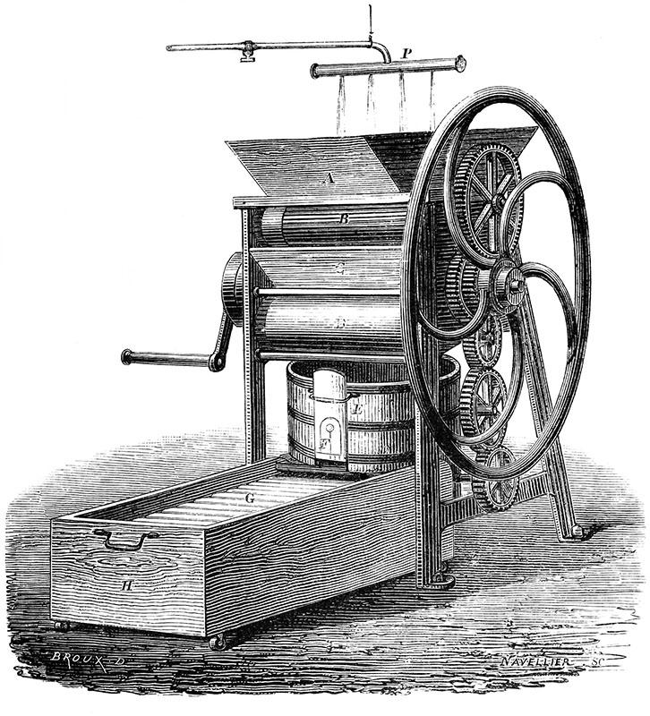 sw-Stich: Maschine mit großem Schwungrad