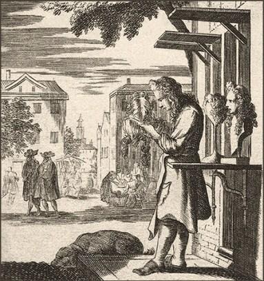 Kupferstich: Perückenmacher präsentiert seine Werke vor Werkstattladen - 1698