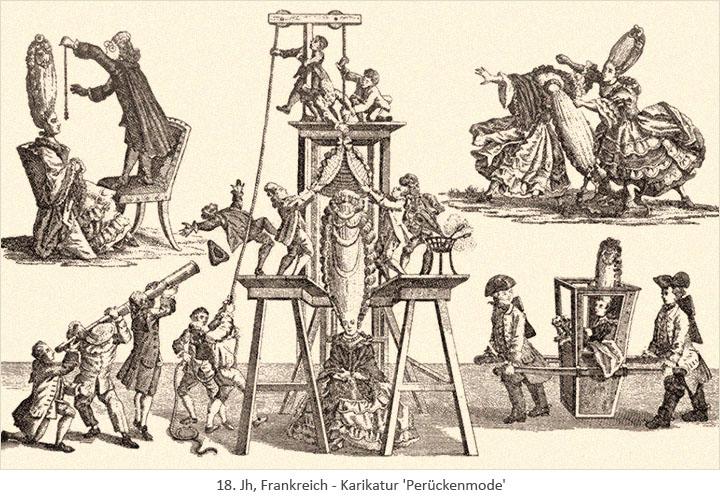 Kupferstich: Karikatur zur extravaganten Turmperücken-Mode - 18.Jh, FR