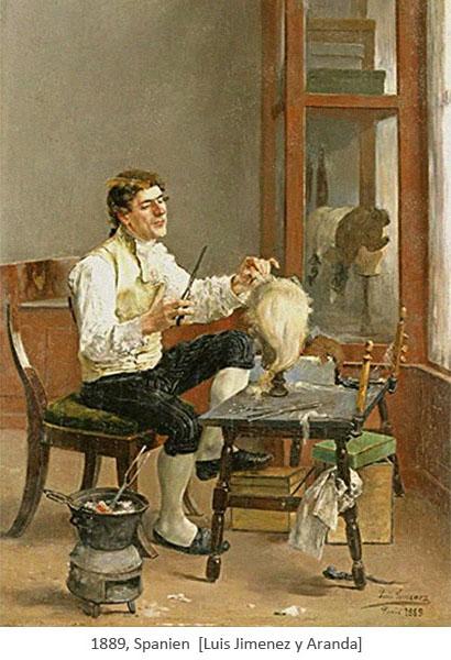 Gemälde: Perückenmacher bei der Arbeit in seinem Studio - 1889, Spanien