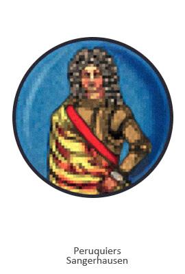 Farblitho: rundes Zunftzeichen mit Perücke tragendem Herrn - Sangerhausen