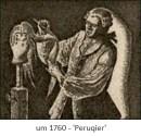 Holzstich: Peruqier bearbeitet Perücke auf Ständer ~1760