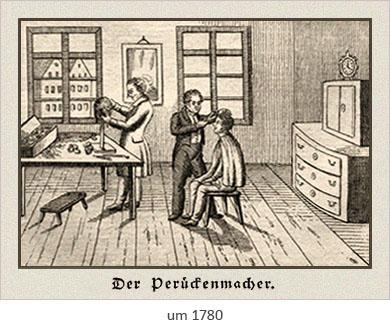 Holzstich: ein Perückenmacher arbeitet an Perücke, ein anderer an einem Kunden ~1780