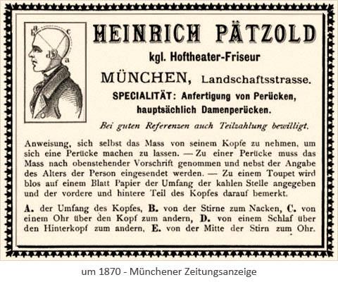 sw Druck: Münchener Zeitungsanzeige 'Perücken-Pätzold' ~1870