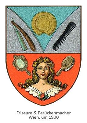 Farblitho: Wappen mit Frisierutensilien in Perücke tragender Frauenkopf ~1900, Wien