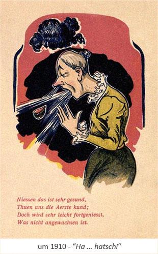 Farblitho: alte Lady verliert beim Niesen Perücke und Gebiss ~1910
