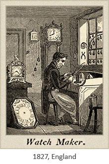 Holzstich: arbeitender Uhrmacher und verschiedene Uhren - 1827, GB