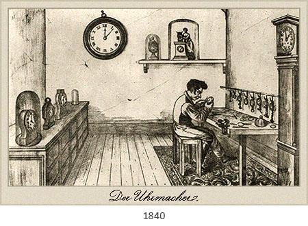 Litho: Uhrmacher an Arbeitstisch umgeben von verschiedenen Uhren - 1840