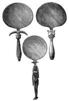 sw-Zeichnung: drei runde Handspiegel mit Griff