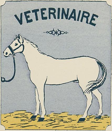Etikett mit weißem Pferd