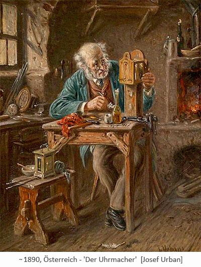 Gemälde: älterer Uhrmacher mit Nickelbrille an seinem Arbeitstischchen ~1890, AT