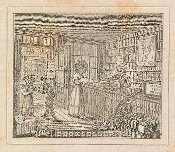 altes Bildchen: Buchhändler bedient Kunden im Buchladen