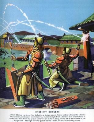 farbige Illustration: chinesische Feuerwerker