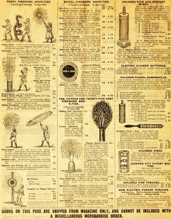 Katalogseite für Feuerwerkskörper