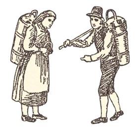 Zeichnung: Amastragerin und Amastrager - 1820, AT