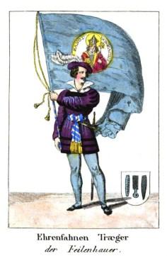 Zeichnung: kostümierter Mann mit sehr großer Fahne