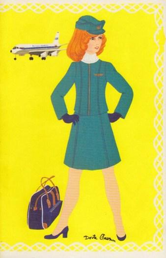 farbige Zeichung einer Flugbegleitung