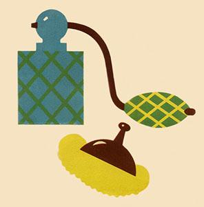 farbige Illustration: Zerstäuber und Bürstchen
