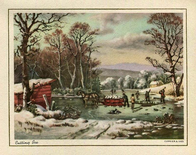 PK: Eisschneider mit Pferdeschlitten bei der Arbeit auf einem Teich