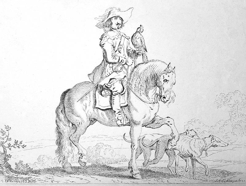 Zeichnung: Falkner zu Pferd
