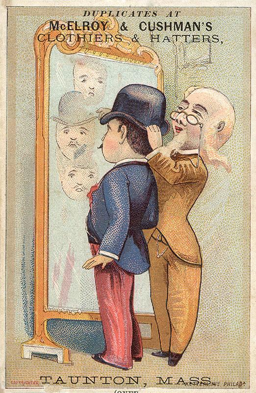 edeler Herr vor Spiegel beim Hutmacher