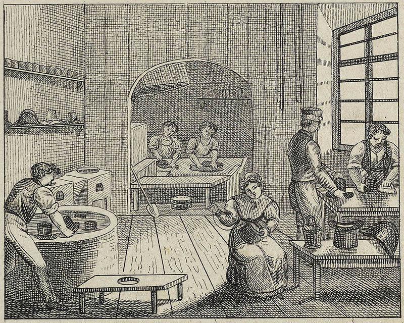 Stich: Frauen und Männer in Hutmacherwerkstatt