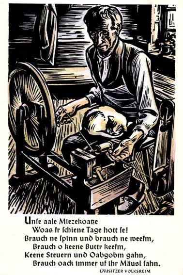 Kunstkarte: Drechsler an der Drehbank