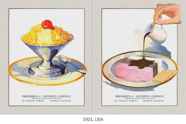 Katalogabbildung: Eisbecher und Pücklereis von Mathews - 1921, USA
