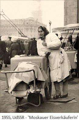 sw Foto: Moskauer Eisverkäuferin - 1955, UdSSR