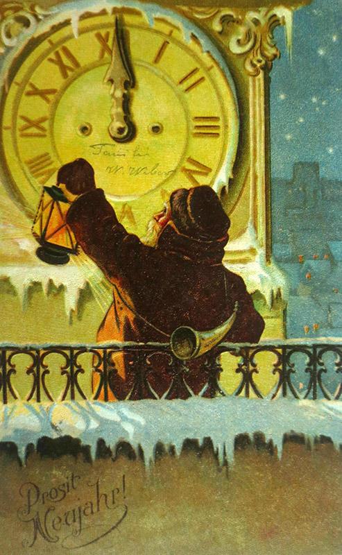 Postkarte: Nachtwächter vor großer Uhr